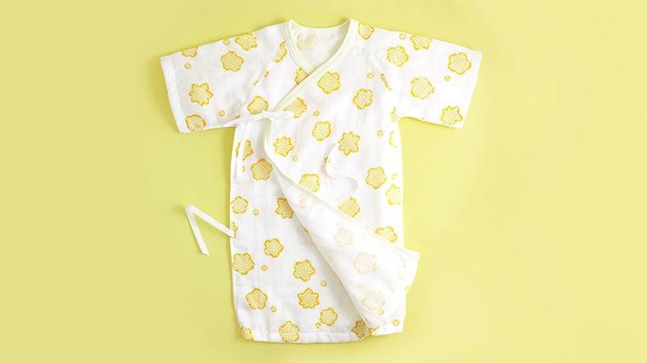 赤ちゃん用ガーゼ肌着(長下着)「りんりん」桜梅柄・和柄 ベビー用ガーゼウェア