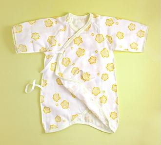りんりん赤ちゃん用ガーゼ肌着(コンビ)「きいろ」