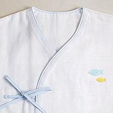 京和晒綿紗 ベビーガーゼ 肌着 F. ブルー + さかな(ブルー)