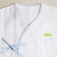 京和晒綿紗 ベビーガーゼ 肌着 G. ブルー + さかな(グリーン)