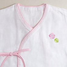 京和晒綿紗 ベビーガーゼ 肌着 C. ピンク + おはな(ピンクB)