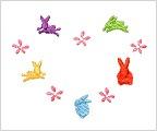 ミニガーゼ刺繍ハンカチ「ハートうさぎ」