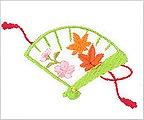 ミニガーゼ刺繍ハンカチ「6. 檜扇」
