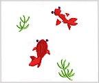 ミニガーゼ刺繍ハンカチ「21. 金魚」
