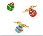 ミニガーゼ刺繍ハンカチ「3. 小鈴」