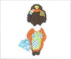 ミニガーゼ刺繍ハンカチ「8. 舞妓」