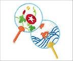 ミニガーゼ刺繍ハンカチ「夏うちわ」
