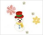 ミニガーゼ刺繍ハンカチ「28. スノーマン」