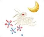 ミニガーゼ刺繍ハンカチ「19. 月うさぎ」
