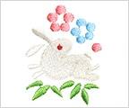 ミニガーゼ刺繍ハンカチ「18. 花うさぎ」