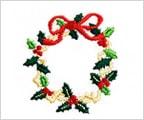 ミニガーゼ刺繍ハンカチ「27. クリスマスリース」