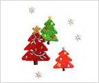 ミニガーゼ刺繍ハンカチ「26. クリスマスツリー」