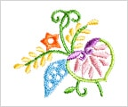 ミニガーゼ刺繍ハンカチ「結い葵」