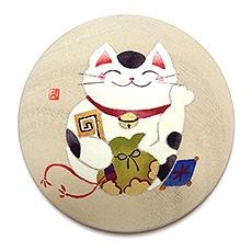 手描き桐手鏡 I. 笑福猫