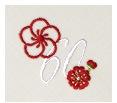 長寿御祝 リネン刺繍ハンカチ「はなことぶき」60-D(還暦・きなり)