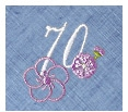 長寿御祝 リネン刺繍ハンカチ「はなことぶき」70-C(古希・そらいろ)
