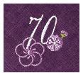 長寿御祝 リネン刺繍ハンカチ「はなことぶき」70-F(古希・ぶどう)
