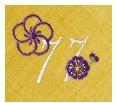 長寿御祝 リネン刺繍ハンカチ「はなことぶき」77-B(喜寿・くちなし)