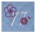 長寿御祝 リネン刺繍ハンカチ「はなことぶき」77-C(喜寿・そらいろ)