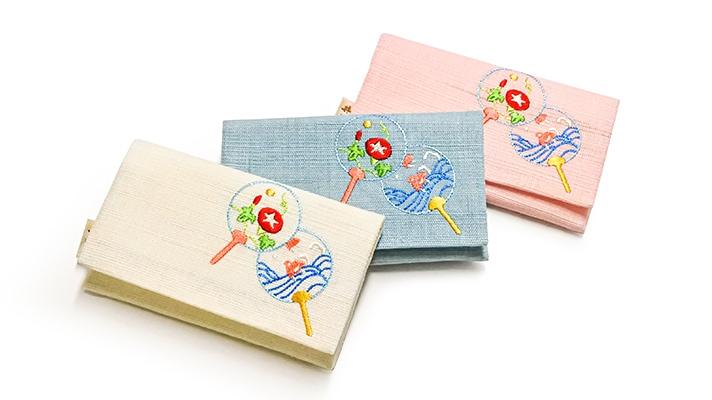 麻素材 夏の刺繍名刺入れ「夏うちわ」