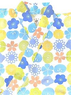 木綿の子供用甚平「花くらべ」B. ブルー