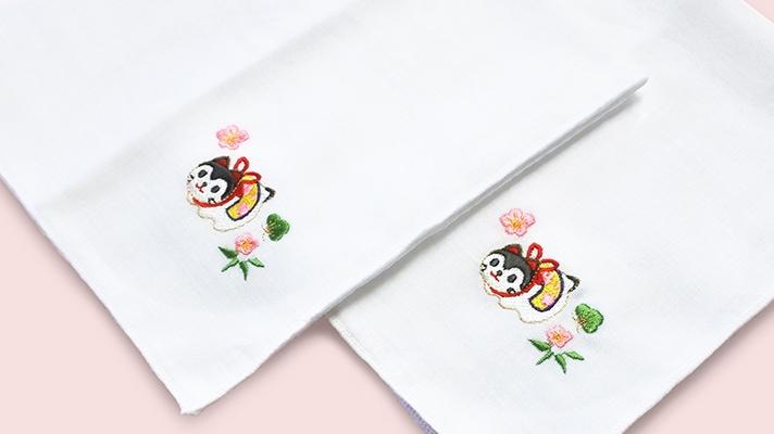 干支のガーゼ刺繍ハンカチ「戌(いぬ)」