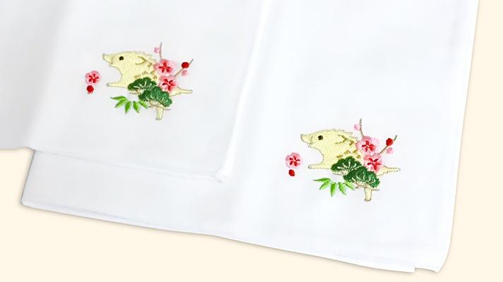 干支のガーゼ刺繍ハンカチ「亥(いのしし)」