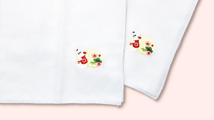 井澤屋 干支のガーゼ刺繍ハンカチ「子(ねずみ)」