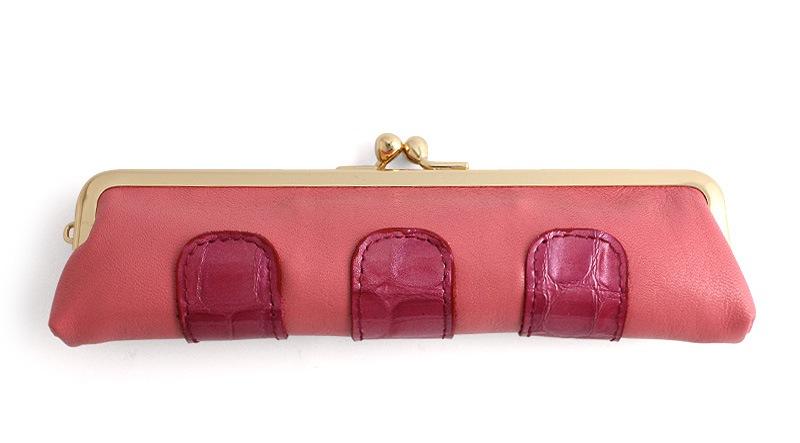 カーフ 仕切り付きコンビ小銭入れ F. ピンク+濃ピンク