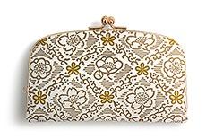 白革 がま口財布 F.梅と桜(金)