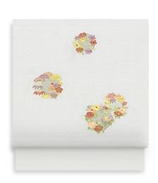 新塩瀬帯「花の丸縫」グレー地