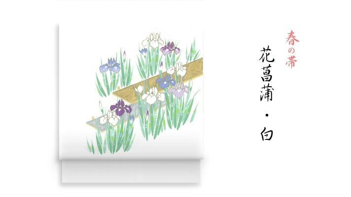 洗える帯・名古屋帯 春の新塩瀬帯「花菖蒲」 白地 井澤屋