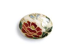 井澤屋オリジナル 清水焼の帯留め E-1. 連獅子「牡丹」