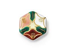 井澤屋オリジナル 京焼の帯留め D-1. 三色椿(六角型)