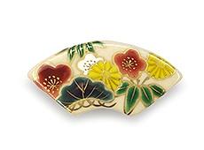井澤屋オリジナル 清水焼の帯留め D-1. 松竹梅と菊(扇型)