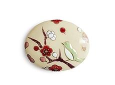 井澤屋オリジナル 清水焼の帯留め D-2. 梅に鶯