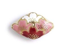井澤屋オリジナル 清水焼の帯留め A-4. 四ツ桜(菱形)