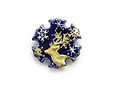 井澤屋オリジナル 京焼の帯留め D. 雪と鹿(雪輪型)