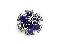 井澤屋オリジナル 清水焼の帯留め E. 雪の結晶(雪輪型)