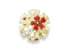 井澤屋オリジナル 清水焼の帯留め A-8. 雪輪 赤白桜