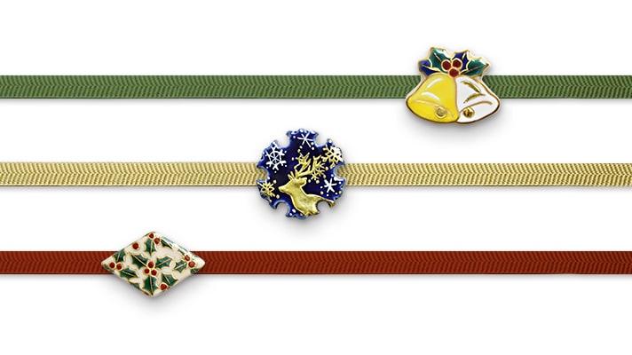 井澤屋オリジナル 清水焼の帯留め クリスマス