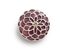 陶器の帯留め ポンポン菊 G. ワイン