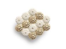 陶器の帯留め 六角 A. 白