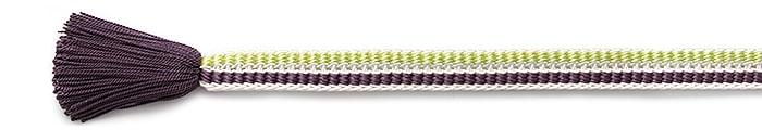 夏の帯締め(帯〆) 源氏レース配色撚房  F. 紫 x 若草