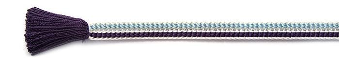 夏の帯締め(帯〆) 源氏レース配色撚房  G. 紫 x 水色