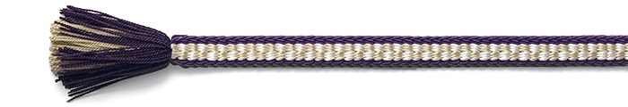 夏の帯締め(帯〆) 源氏レース市松撚房  G. 紫 x 白茶