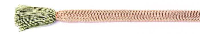 夏の帯締め(帯〆) 角朝レース配色撚房  D. あんず色