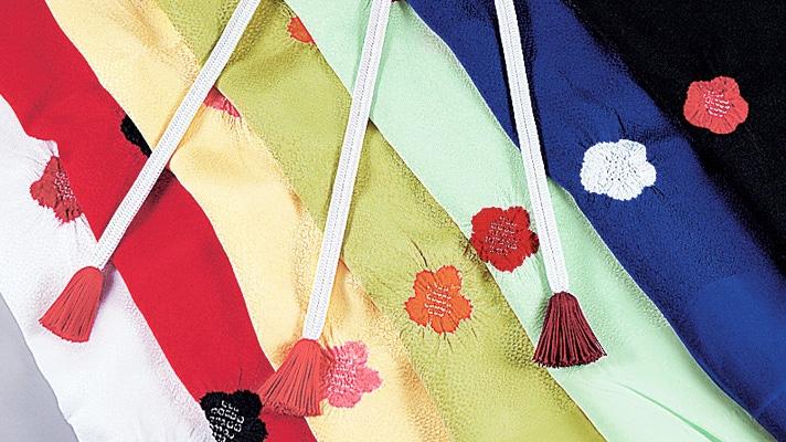 和装小物 帯揚げ「綸子鮫小紋輪出し梅」 絞り柄