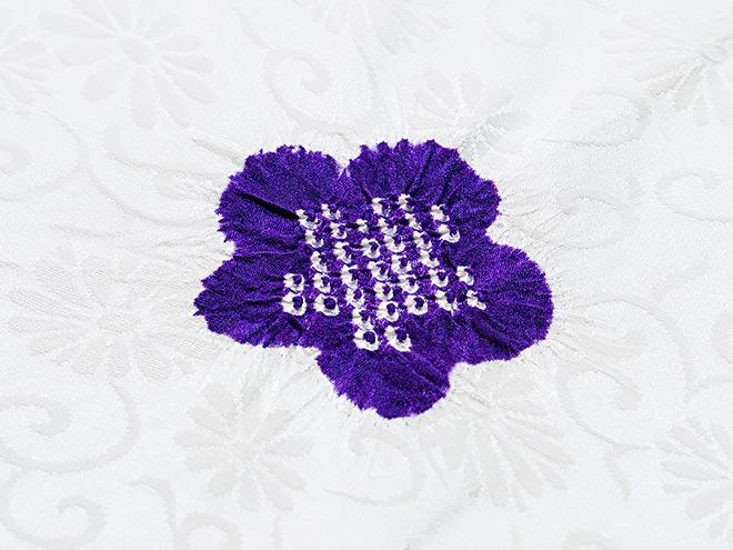 帯揚げ 綸子唐草輪出し梅大小  G. 紫