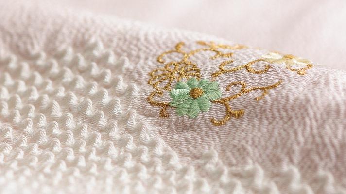 帯揚げ 縮緬絞り金彩刺繍(和装小物・帯あげ)